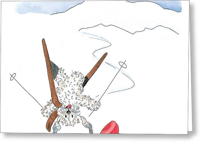 Skiing Prints Paintings Greeting Cards - Ski Fail Greeting Card by Leah Wiedemer