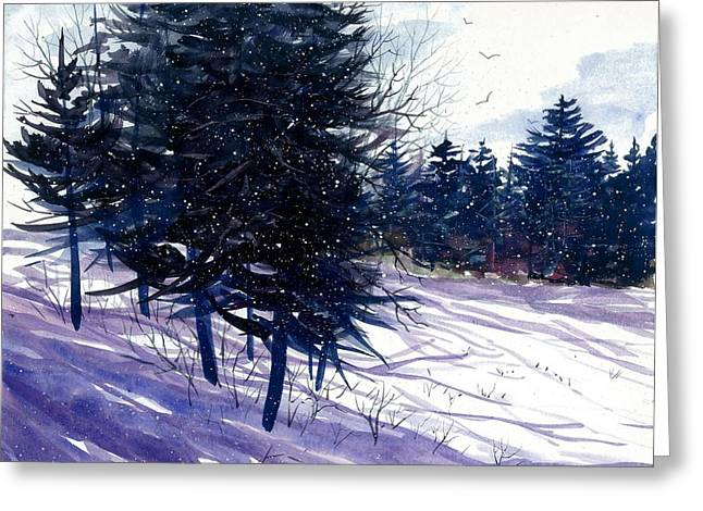 Award Winning Art Greeting Cards - Ski Hill Greeting Card by Steven Schultz