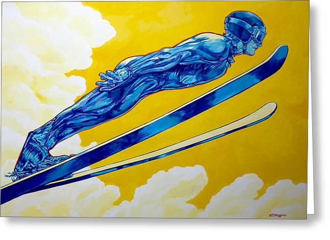 Ski Jump Greeting Cards - Ski Jumper Airborne Greeting Card by Derrick Higgins