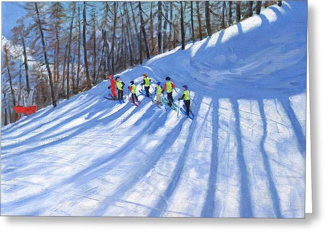 Skiing Christmas Cards Greeting Cards - Ski lesson Greeting Card by Andrew Macara