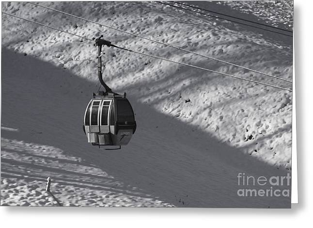Snowy Day Greeting Cards - Ski lift Greeting Card by Claudia Mottram
