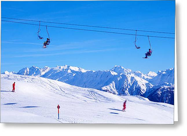 Snowy Day Greeting Cards - Ski Lift In Mountains Switzerland Greeting Card by Panoramic Images