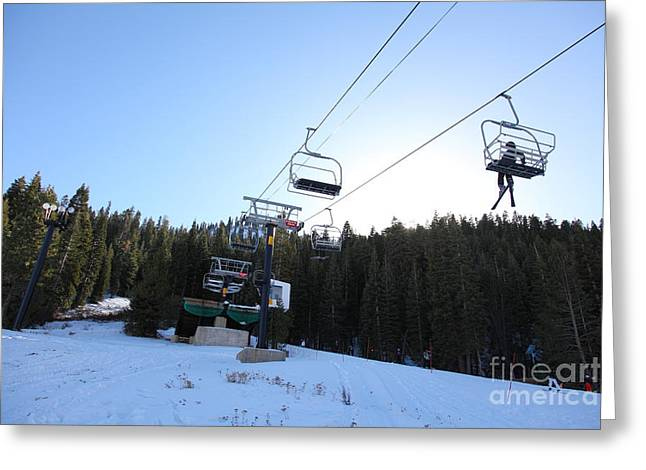 Snow Boarding Greeting Cards - Ski Lifts at Squaw Valley USA 5D27612 Greeting Card by Wingsdomain Art and Photography
