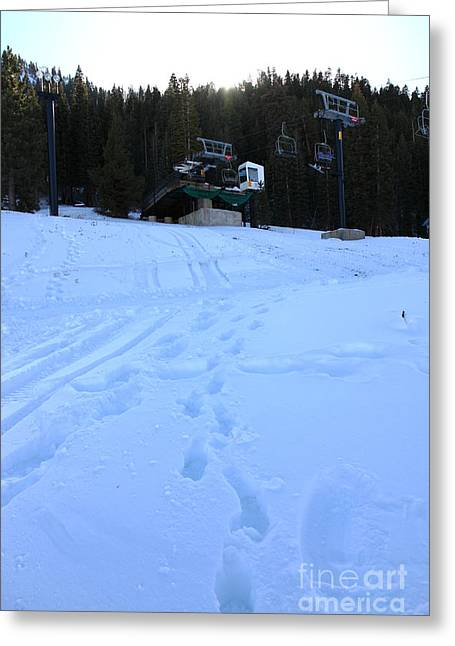 Snow Boarding Greeting Cards - Ski Lifts at Squaw Valley USA 5D27633 Greeting Card by Wingsdomain Art and Photography