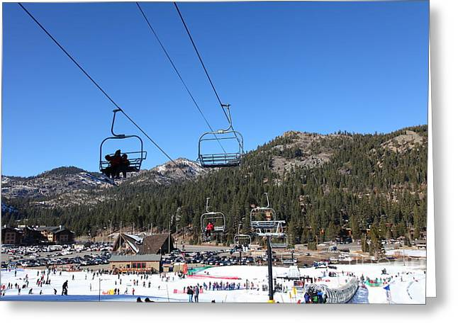 Winter Olympics Greeting Cards - Ski Lifts at Squaw Valley USA 5D27639 Greeting Card by Wingsdomain Art and Photography