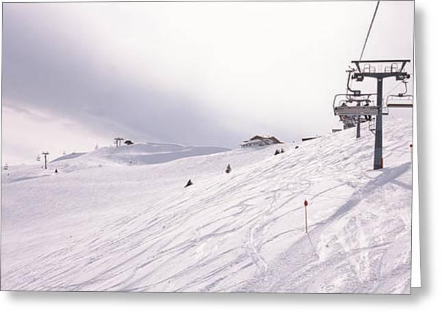Ski Lift Greeting Cards - Ski Lifts In A Ski Resort, Kitzbuhel Greeting Card by Panoramic Images