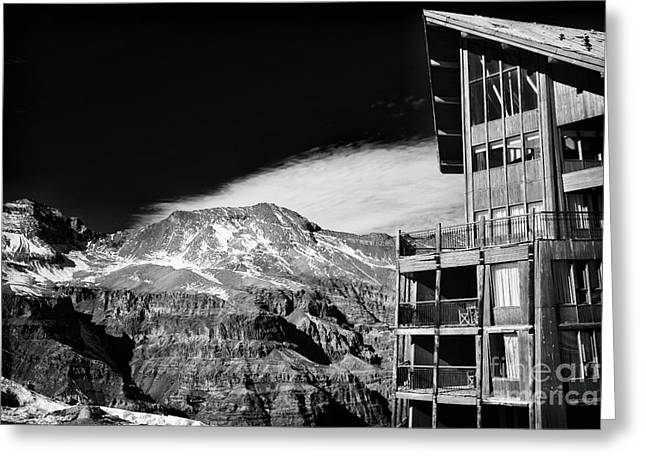 Skiing Art Posters Greeting Cards - Ski Lodge in the Andes Greeting Card by John Rizzuto