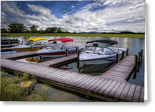 Docked Boats Greeting Cards - Ski Nautique Greeting Card by Debra and Dave Vanderlaan