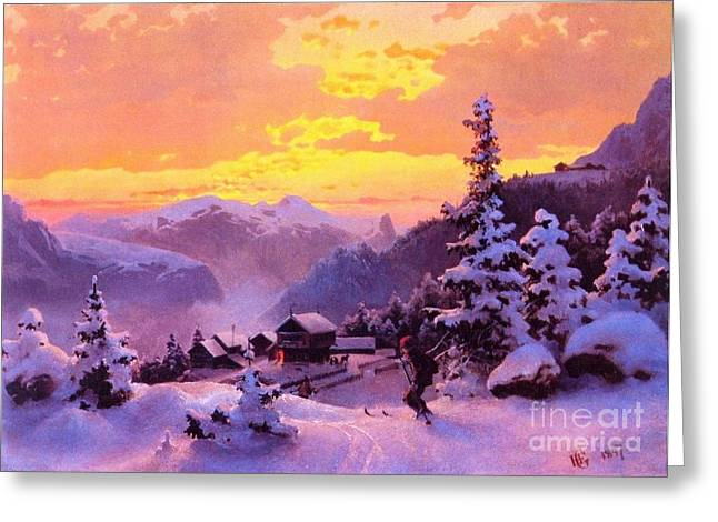 Norwegian Sunset Paintings Greeting Cards - Ski Greeting Card by Pg Reproductions