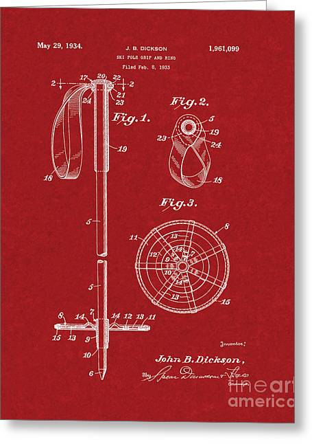 Skiing Posters Digital Art Greeting Cards - Ski Pole Grip And Ring Patent - Burgundy Red Greeting Card by BJ Simpson