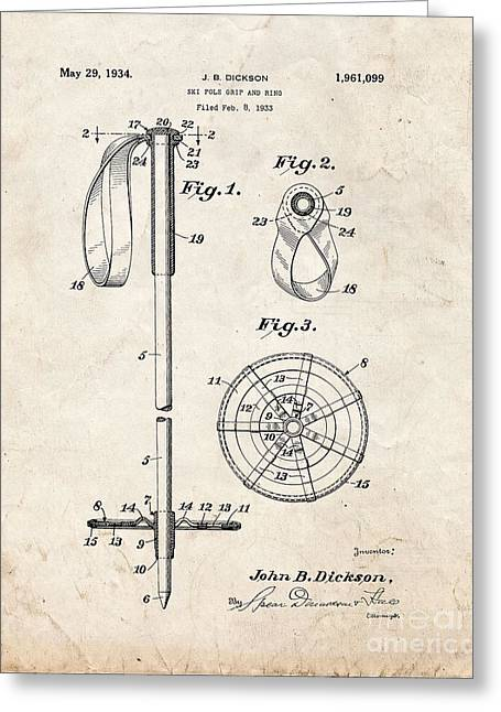 Skiing Posters Digital Art Greeting Cards - Ski Pole Grip And Ring Patent - Old Look Greeting Card by BJ Simpson
