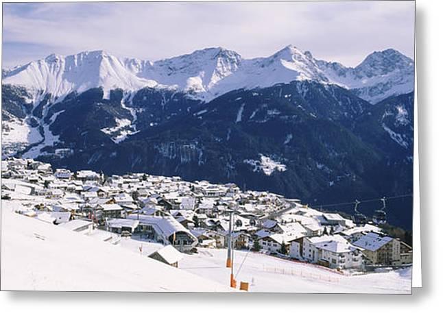 Ski Resort Greeting Cards - Ski Resort With Mountain Range Greeting Card by Panoramic Images