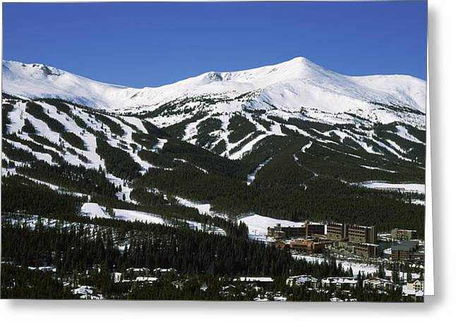 Ski Resort Greeting Cards - Ski Resorts In Front Of A Mountain Greeting Card by Panoramic Images