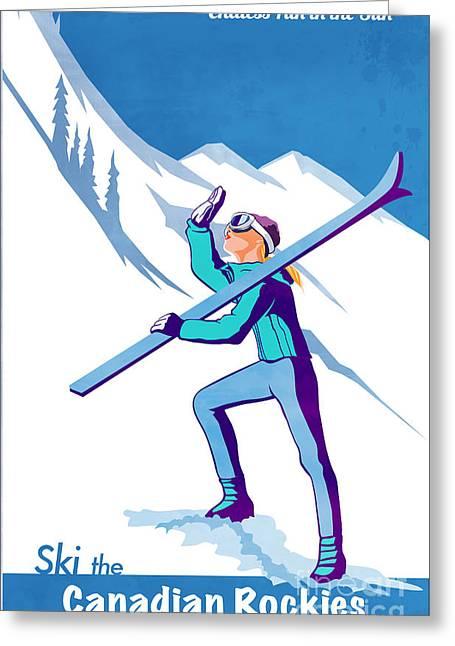 Alpine Skiing Posters Greeting Cards - Ski the Rockies Greeting Card by Sassan Filsoof