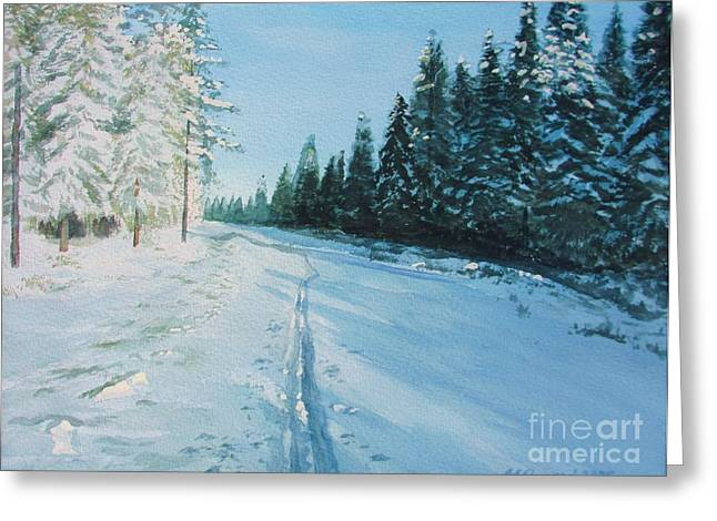 Wintry Greeting Cards - Ski Tracks Greeting Card by Martin Howard