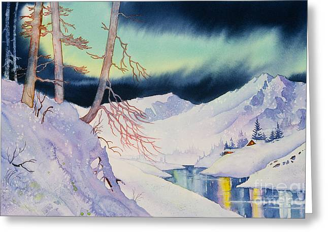 Ski Trail Greeting Card by Teresa Ascone