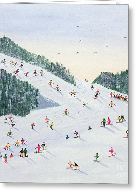 Skiing Christmas Cards Greeting Cards - Ski vening Greeting Card by Judy Joel