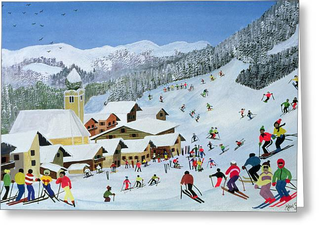 Fallen Snow Greeting Cards - Ski Whizzz Greeting Card by Judy Joel