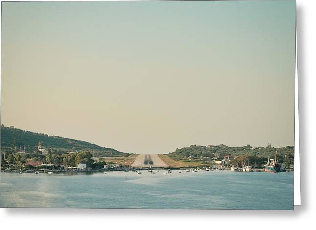 Airfield Greeting Cards - Skiathos Airport Greeting Card by Tom Gowanlock