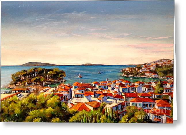 Skiathos Panorama Greeting Card by Yvonne Ayoub