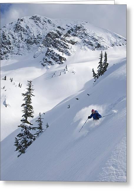 Peak One Greeting Cards - Skier Hitting Powder Below Nak Peak Greeting Card by Kurt Werby