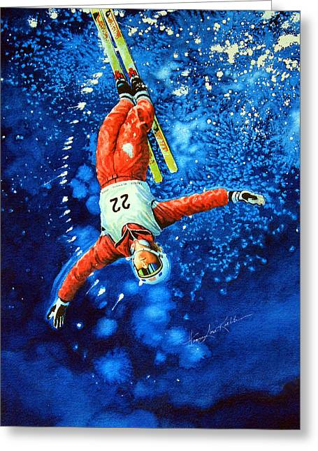Skier Iphone Case Greeting Card by Hanne Lore Koehler