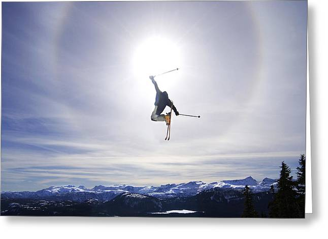 Long Shot Greeting Cards - Skier Jumping, Courtenay, Bc Greeting Card by Josh McCulloch