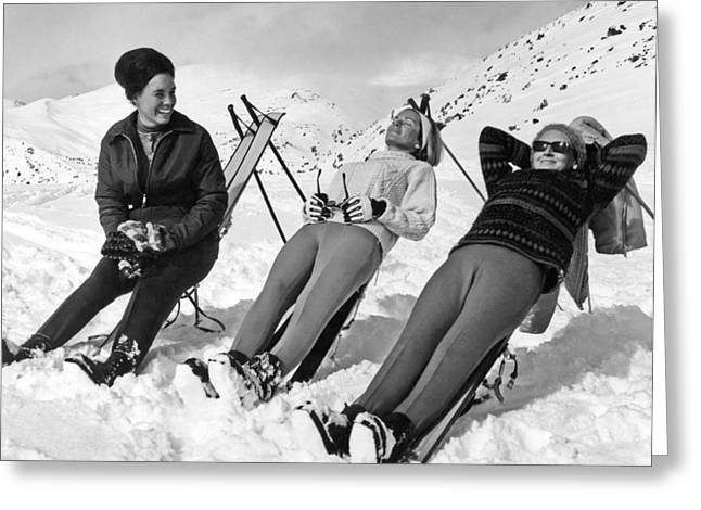 Skiers Basking In The Sun Greeting Card by Underwood Archives