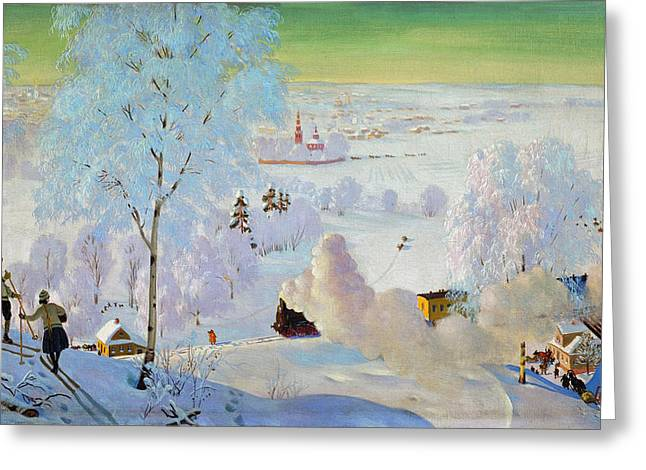 Skiing Christmas Cards Greeting Cards - Skiers Greeting Card by Boris Mikhailovich Kustodiev