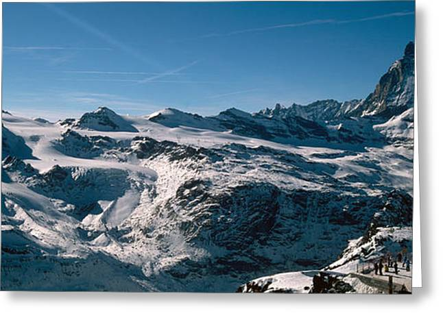 Mountain Greeting Cards - Skiers On Mountains In Winter Greeting Card by Panoramic Images