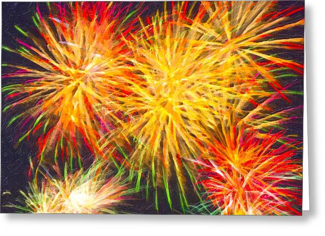 Skies Aglow With Fireworks Greeting Card by Mark Tisdale
