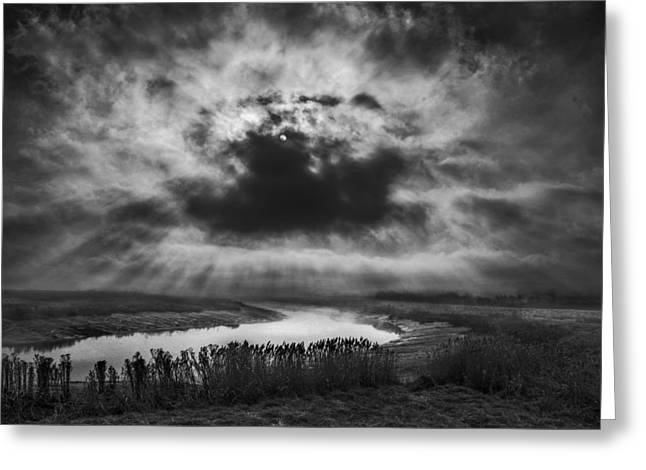 Gold Lime Green Greeting Cards - Skies over the Marsh Greeting Card by Adrian Campfield