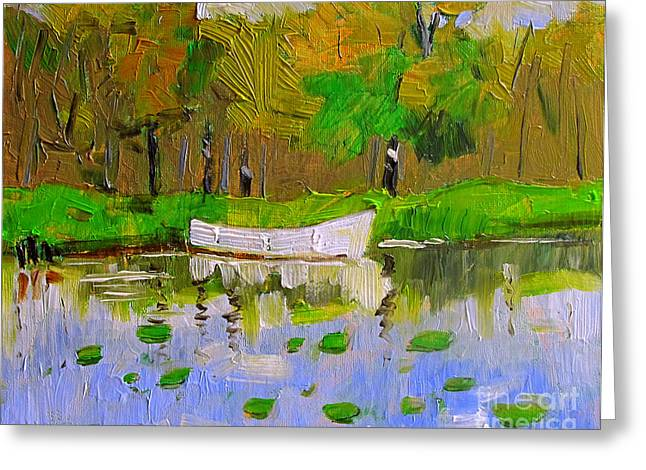 Impasto Type Greeting Cards - Skiff Greeting Card by Charlie Spear