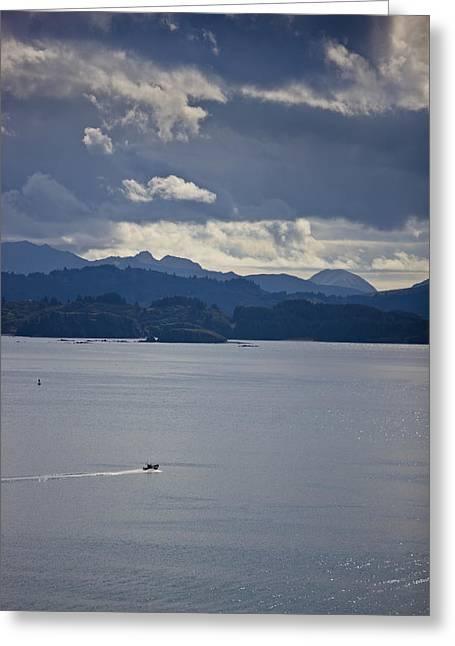 Kodiak Island Greeting Cards - Skiff Off The Shore Of Kodiak Island Greeting Card by Kevin Smith