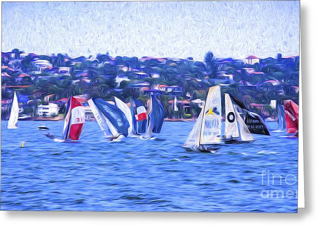 Skiff Greeting Cards - Skiff race on Sydney Harbour Greeting Card by Sheila Smart