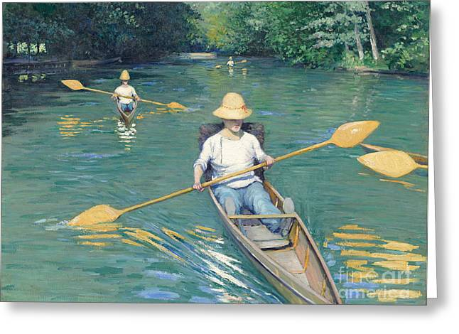 Rowers Paintings Greeting Cards - Skiffs Greeting Card by Gustave Caillebotte