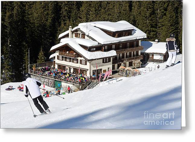 Alps Greeting Cards - SKIHAUS SCHIFER skier davos parsenn klosters Greeting Card by Andy Smy