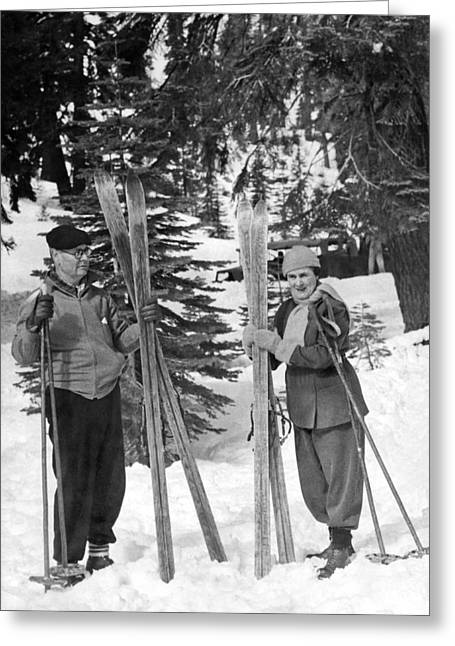 Skiing Badger Pass In Yosemite Greeting Card by Underwood Archives