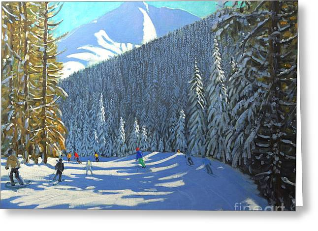 Skiing Christmas Cards Greeting Cards - Skiing  Beauregard La Clusaz Greeting Card by Andrew Macara