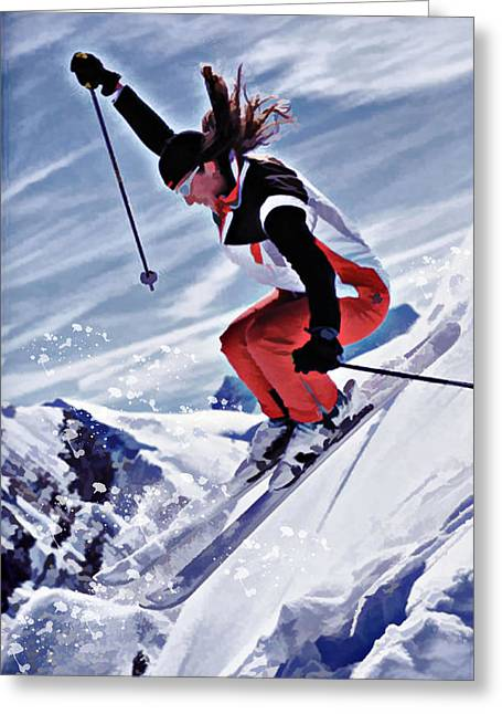 Skiing Action Paintings Greeting Cards - Skiing Down the Mountain in Red Greeting Card by Elaine Plesser