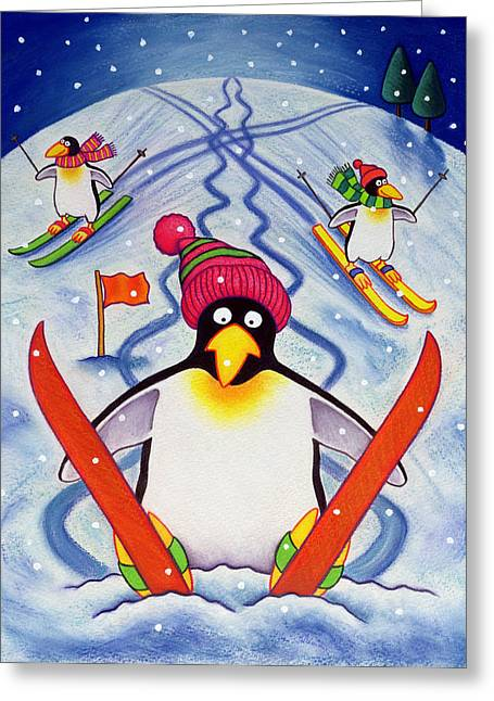 Skiing Christmas Cards Greeting Cards - Skiing Holiday Greeting Card by Cathy Baxter
