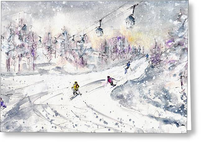 Ski Drawings Greeting Cards - Skiing In The Dolomites In Italy 01 Greeting Card by Miki De Goodaboom