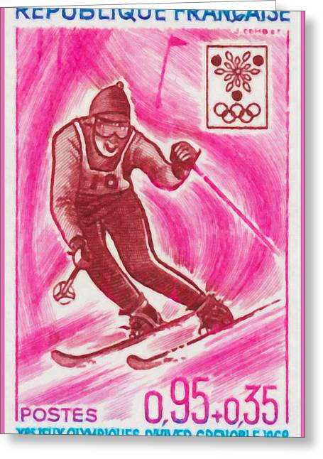Skiing Prints Paintings Greeting Cards - Skiing Greeting Card by Lanjee Chee