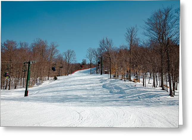Chairlift Greeting Cards - Skiing McCauley Mountain Greeting Card by David Patterson
