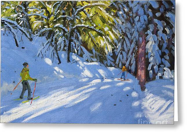 Winter Fun Paintings Greeting Cards - Skiing through the Woods  La Clusaz Greeting Card by Andrew Macara