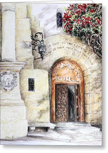City Hall Drawings Greeting Cards - Skill of the man Greeting Card by Danuta Bennett