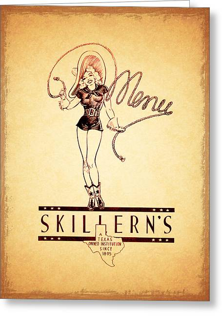 Menu Photographs Greeting Cards - Skillerns Texas 1940 Greeting Card by Mark Rogan