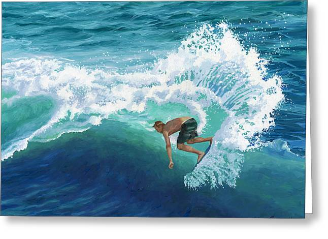 Sports Portrait Greeting Cards - Skimboard Surfer Greeting Card by Alice Leggett