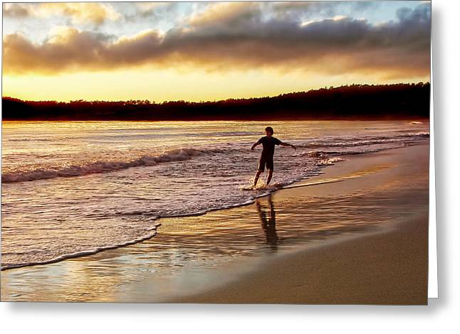 Boarder Greeting Cards - Skimboarder Sunset #1 Greeting Card by Nikolyn McDonald