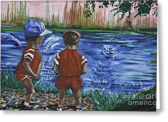 Throwing Stones Greeting Cards - Skimmers Greeting Card by James Lavott